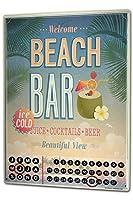 カレンダー Perpetual Calendar Nostalgic Alcohol Retro Beach bar Tin Metal Magnetic