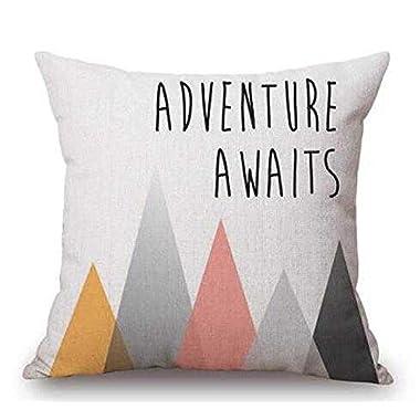 Elephant Deer Mountains Cotton Linen Throw Pillow Case Cushion Cover Home Sofa Decorative 18 X 18 Inch (14)