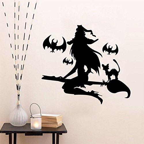WLYUE Diy calcomanías, Black Witch Halloween Vinilos decorativos Decoración de la pared del hogar Vinilos decorativos de Halloween