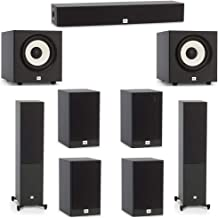 JBL 7.2 System with 2 JBL Stage A180 Floorstanding Speakers, 1 JBL Stage A135C Center Speaker, 4 JBL Stage A130 Bookshelf Speakers, 2 JBL Stage A100P Subwoofers
