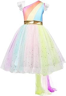 Flower Girl Unicorn Party Dress Ruffles Tulle Birthday Party Wedding Princess Costume Dress