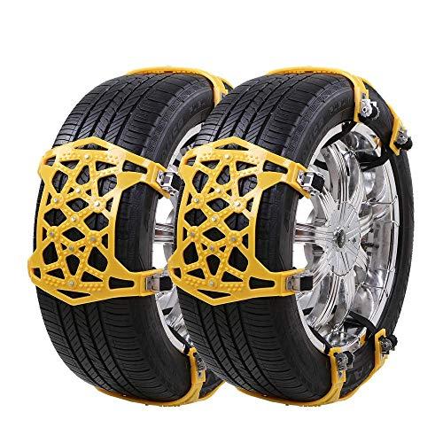 Universelle Schneeketten leicht zu montieren Schneeketten für Jede Reifenbreite 165-285mm, Satz von 6,Yellow