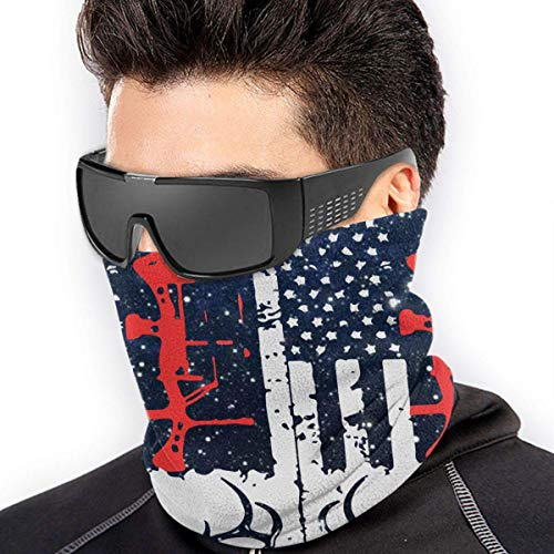 XXWKer Microfibre Chapeaux Tube Masque Visage Tour de Cou Cagoule, Deer Hunting US Flag Micro Fiber Seamless Windproof Bandana & Face & Neck Warmer Gaiter Shield - for Mens Womens