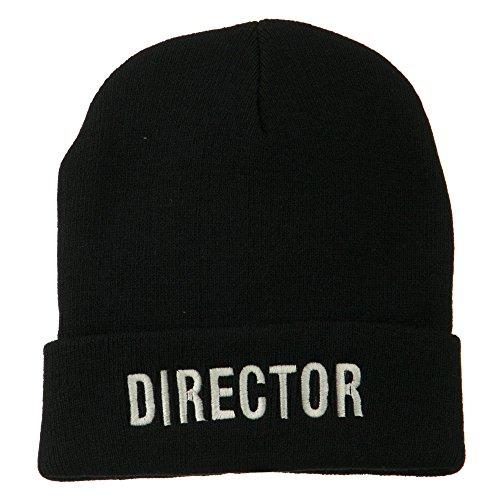 e4Hats.com Director Embroidered Long Beanie - Black OSFM