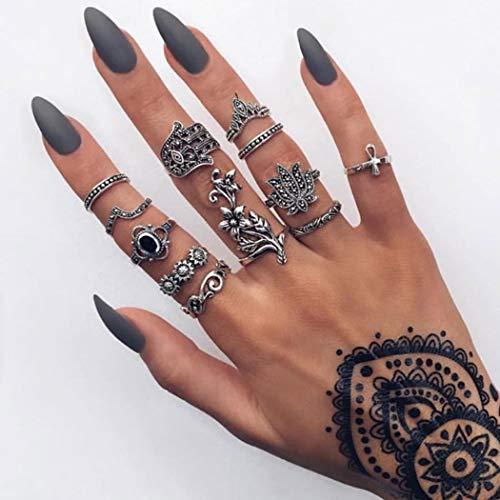 Aukmla Vintage Knöchelringe Set Silber Stapelbare Fingerringe Blumen geschnitzte Ringe Gelenk Knöchelringe für Frauen und Mädchen 12St