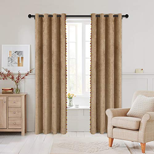 """Double-Sided Coffee Chenille Window Curtains with Beads Luxuy Curtains Sets for Living Room,Grommet Top (52"""" W x 84"""" L,2 Panels)"""