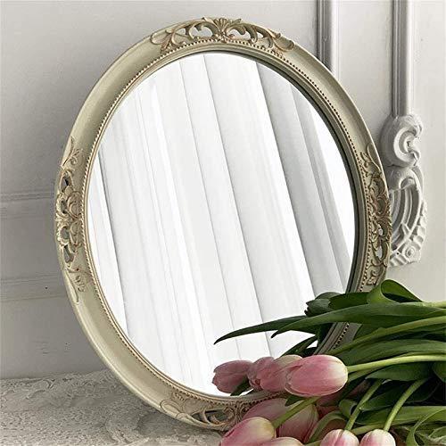 Espejo de Pared Decorativo, espejocolgantevintage con Marco de Resina Blanca, para decoración de tocador de Sala de Estar de Dormitorio, Antiguo Ovalado 29,5 W x 35 cm L