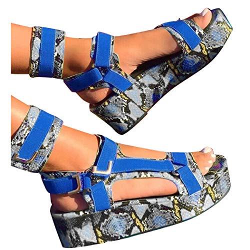 Great Price! Tsmile Women's Snakeskin Print Platform Sandals for Girls Street Style Open Toe Ankle S...