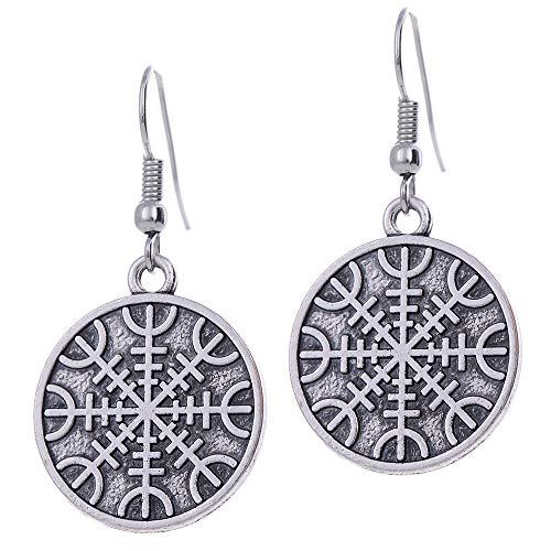 VASSAGO - Pendientes de gota vintage talismán vikingo, símbolo invencible, Aegishjalmur Yelmo de Awe para mujeres y niñas