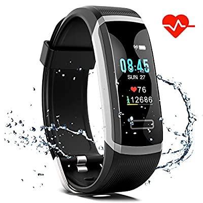 Akuti Fitness Tracker HR, Fitness Watch with Heart Rate Monitor, Activity Tracker, Sleep Monitor, Step Counter Calories Watch, IPX7 Waterproof Smart Wristband Pedometer