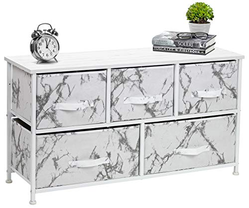 Sorbus Dresser with Drawers - Furniture Storage Chest Tower Unit for Bedroom, Hallway, Closet, Office Organization - Steel Frame, Wood Top, Marble Pattern Fabric Bins (Marble White – White Frame)