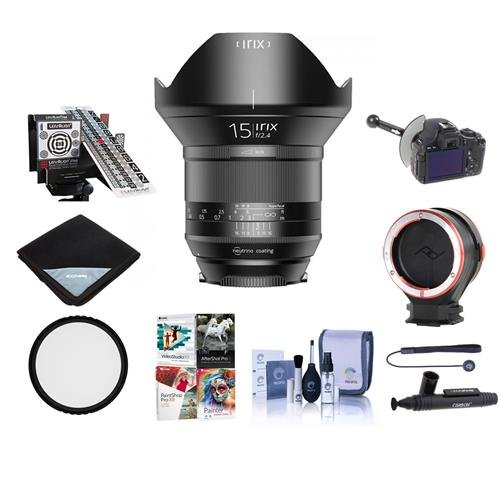 Irix 15mm f/2.4 Blackstone Lens for Canon EOS DSLR Cameras - Manual Focus - Bundle with 95mm Uv Filter, LensAlign MkII Focus Calibration System, FocusShifter DSLR Follow Focus, and More