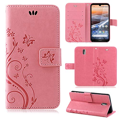betterfon | Nokia 3.2 Hülle Flower Hülle Handytasche Schutzhülle Blumen Klapptasche Handyhülle Handy Schale für Nokia 3.2 Rosa