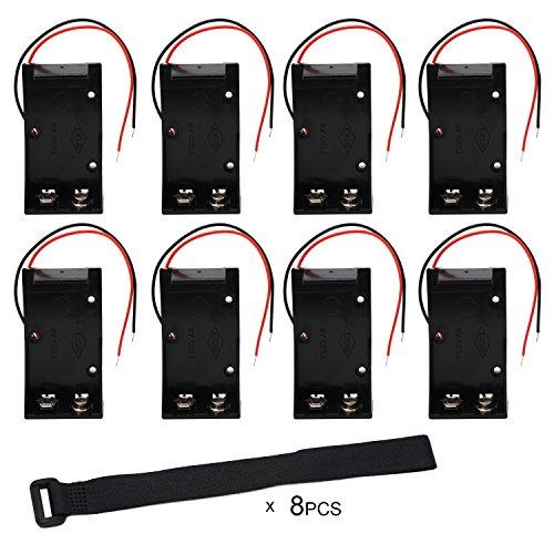 KEESIN Caja del soporte de la batería 9V Caja de almacenamiento de la batería de plástico con conductores de cables y bridas autoadhesivas (8 piezas)
