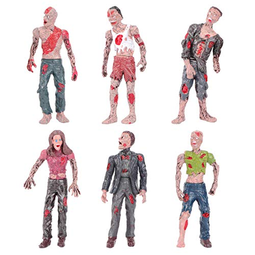 Amosfun Zombie Dolls Static Models Figures Toys for Boys Halloween Zombie Ornaments 6 PCS
