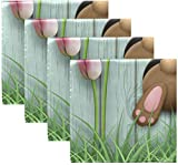 BONRI Juego de 4 servilletas de Tela de poliéster Lavable con Fondo de Conejito de Pascua en Azul, Agujero de Madera, Rosa, Flor de tulipán, Hierba, Conejo, servilletas de poliéster Lavables 20'X20'