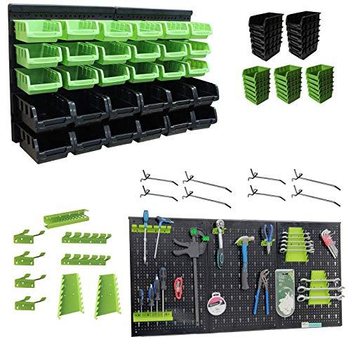 TrutzHolm® Wandregal mit Stapelboxen und Werkzeughalter Hakenset 52 tlg