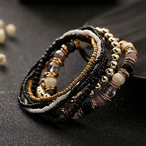 BAOBAO QUELLIA Femmes Four Seasons Bohème Multi-Couche élastique Bracelet perlé (Noir) (Color : Black)