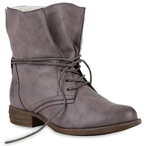stiefelparadies Damen Stiefeletten Schnürstiefeletten Warm Gefütterte Stiefel Glitzer Winter Boots Zipper 147852 Grau Avelar 37 Flandell