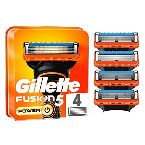 Gillette Fusion 5 Power Rasierklingen für Männer, 4 Stück, entwickelt mit Anti-Irritations-Klingen, für bis zu 20 Rasuren pro Klinge