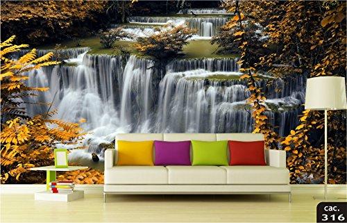 Papel de Parede 3D Cidades, Montanhas, Florestas, Cachoeiras, Paisagens Adesivo Decorativo 1.40x2.98m Painel Fotográfico - Confeccionamos sob medida