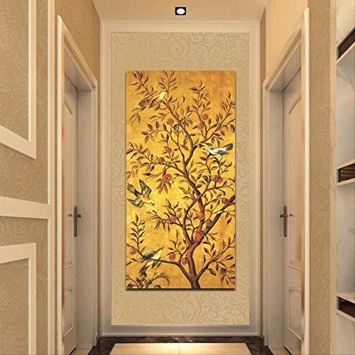 Poster en print Wall Art Canvas schilderij van traditionele rijkdom boom en vogel op woonkamer wanddecoratie 60x120cm geen frame