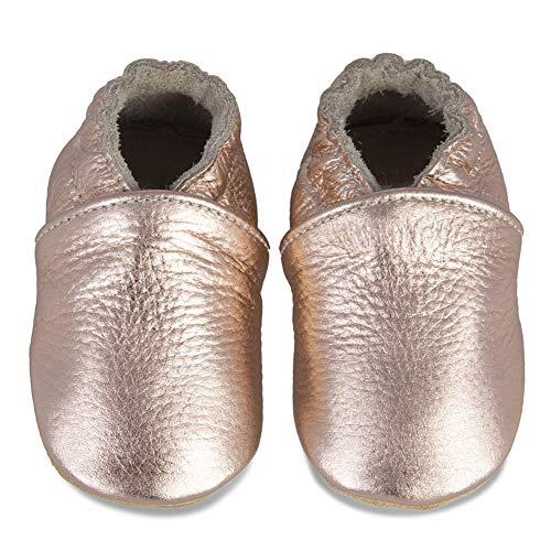 Baby Lauflernschuhe Jungen Mädchen Weicher Leder Krabbelschuhe Kleinkind Babyhausschuhe Rutschfesten Wildledersohlen(Rose/Gold, 12-18 Monate)