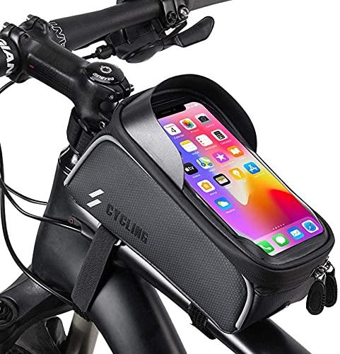自転車トップチューブバッグ 自転車バッグ タッチパネル操作 TPU材質 防水 防圧 多機能 6.5インチスマホ対応 夜間安全 収納便利 取り付け簡単 クロスバイク/ロードバイク/マウンテンバイク適用