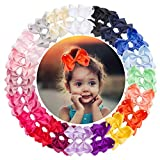 Vinobowtique 40Piece 4In Grosgrain Ribbon Hair Bows Clips Medium Hair Bows Clips For Baby Girls Teens Toddlers