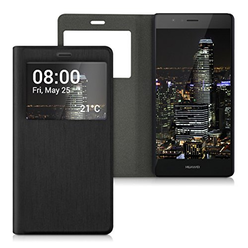 kwmobile Funda Compatible con Huawei P9 Lite - Case Protectora - Carcasa Plegable con Ventana en Negro