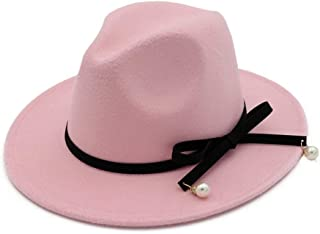 Size 56-58CM Unisex Men Women Wool Fedora Hat with Bowknot Elegant Lady Party Fascinator Hat (Color : Pink, Size : 56-58)