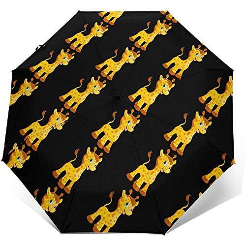 Niedlicher Giraffen-automatischer dreifachgefalteter Regenschirm-Sonnenschirm-Sonnenschutz