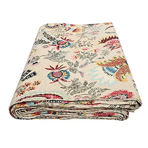 Charoli Enterprises Kantha - Colcha de algodón para Cama de Matrimonio, Estilo Hippie, para decoración de Habitaciones étnicas, de algodón