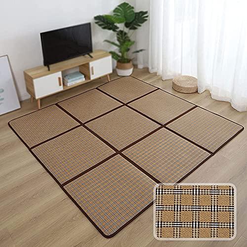 JJDSN Colchón de futón japonés, Esterilla de ratán de refrigeración de Verano, Esterilla de Hierba Doble Transpirable de tamaño Completo para Espacio de meditación/Yoga