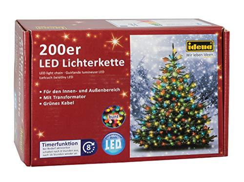 Idena 8325068 - LED Lichterkette mit 200 LED bunt, mit 8 Stunden Timer Funktion, Innen und Außenbereich, für Partys, Weihnachten, Deko, Hochzeit, als Stimmungslicht, ca. 27,9 m