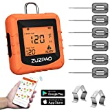 Meat Thermometer for Cooking, Zuzpao Wireless Digital BBQ Instant Grill Remote Thermometer with 6 Stainless Steel Probes and Smart APP Temperature Setting for Kitchen, Smoker, Grill, Oven