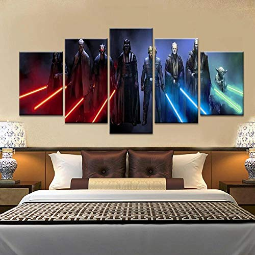 IKDBMUE Wall Art Abstraction For living room 150x80 cm Star Wars Lightsaber Movie 5 Pieces Non-Woven Canvas Prints Image Framed Artwork Painting Picture Home Decoration