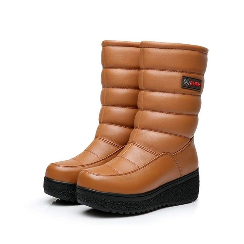 走る真空予測子[ZUOMA] レディース スノーブーツ 厚底靴 革靴 ブーツ 防水 滑り止め 裏起毛 保温 発熱 ミドルブーツ