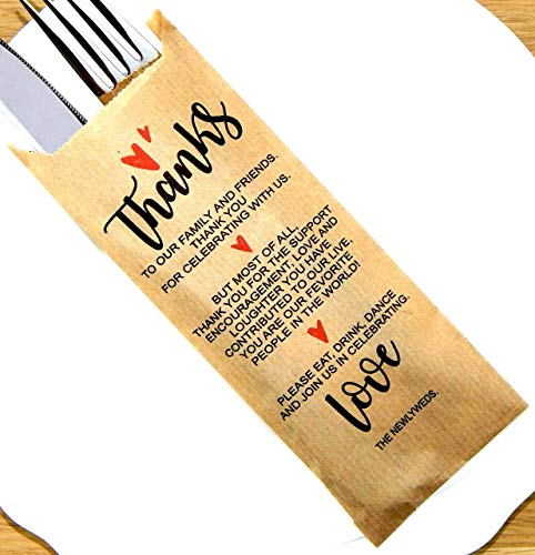 """Thank You Kraft Paper Silverware Bags - Wedding Decorations Place Setting Utensil Holders For Your Table Centerpieces - Silverware Holder Bag - Pocket Sleeves - Flat 2.8"""" x 7.5""""- Pack of 50"""