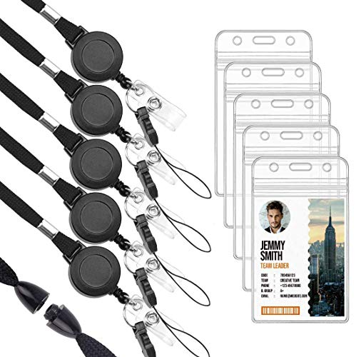 Ktrio 5 Pack Lanyards Retractable Badge Reel with ID Badge Holder, Clear Name ID Card Work Badge Holder with Clip Retractable Reel, Lanyard with Retractable ID Holder for Office, School and Nurses