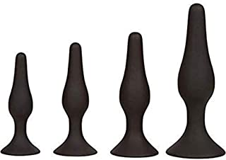 Set of 4 Silicone ÁnÁles Beginner Trainer Set for Women and Men Personal Body Relax (Black)