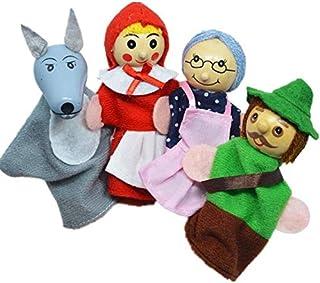 اربعة دمى اصابع بشخصيات كرتونية شهيرة، خشبية وناعمة لتعليم الاطفال، تهديها لطفلك ليلعب بها