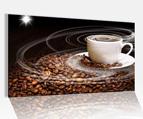 Acrylglasbild 80x50cm Kaffee Tasse Coffee Bohnen Küche Glasbild Bilder Acrylglas Acrylglasbilder Wandbild 14D346, Acrylglas Größe4:80cmx50cm