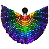 Girls Colorful LED Belly Dance Wings with Telescopic Stick LED Kids Butterfly Wings Dance Tap Dancing Equipment Glowing Light Up Costumes Glowing Performance Clothing for Carnival, Stage, Party