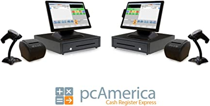 Retail Point of Sale System Two Stations - Includes Touchscreen PC (2), POS Software (CRE Monthly) (2), Receipt Printer (2), Scanner (2), Cash Drawer (2), and Credit Card Swipe Reader (2)