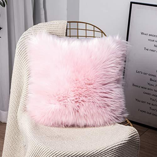 OYIMUA Funda de cojín Decorativa de Piel de Oveja sintética de Pelo Largo para sofá, cojín de imitación (Rosa, 45 x 45 cm)