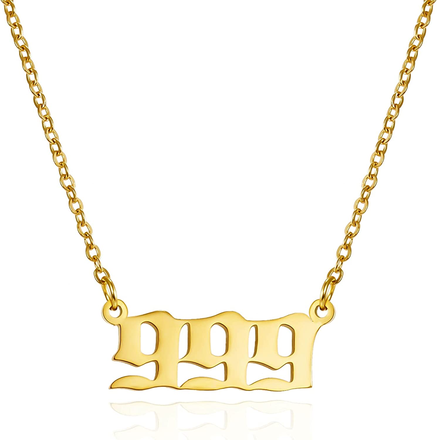 Stainless Steel Angel Number Necklace 111 222 333 444 555 666 777 888 999 Stainless Steel Pendants Necklace Chain Numerology Jewelry