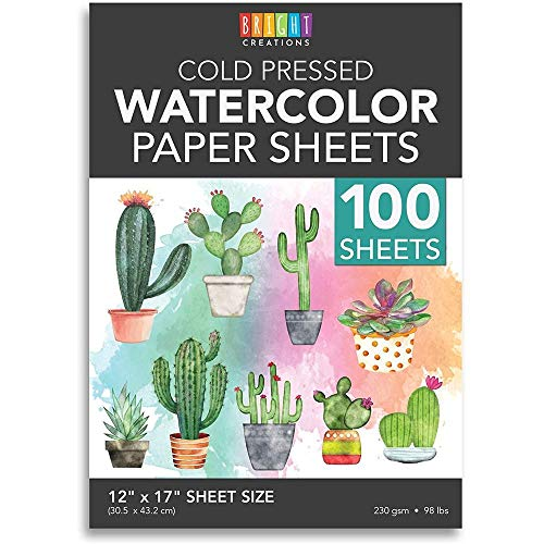 Cold Press Watercolor Paper for Beginner Artists and Students (12 x 17 in, 100 Sheets)
