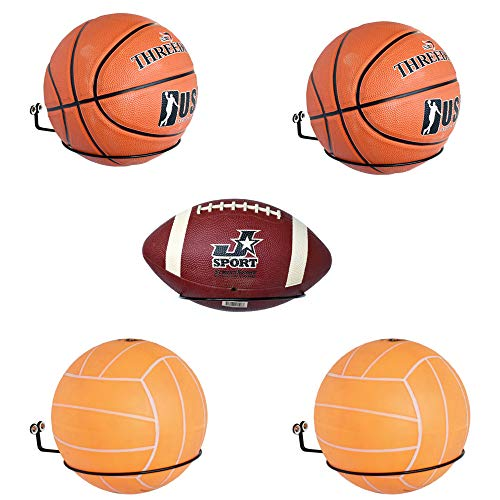 YYST Basketball Wall Mount Football Soccer Volleyball Sports Ball Wall Mount Wall Holder Display Storage Rack - No Ball Included -5/PK