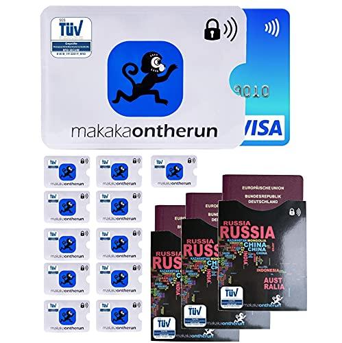 MakakaOnTheRun (15 STK) TÜV geprüfte RFID Schutzhüllen für EC-Karten & Reisepässe - RFID Blocker NFC Kreditkartenhülle EC-Karte, Bankkarte, Kreditkarte, Reisepässe